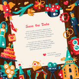 Flat design wedding and marriage invitation card template Stock Photography