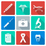Flat design white silhouette medical icons set Stock Photo