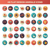 Flat design wild and domestic animals icons set Royalty Free Stock Photos