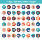 Flat design wild and domestic animals icons set Stock Images