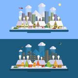 Flat design winter urban landscape illustration Stock Image