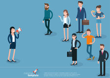 Flat design  woman promoter with loudspeaker Royalty Free Stock Photos