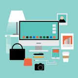 Flat design womans workspace items EPS 10 vector. Royalty free stock illustration for ads, marketing, poster, flyer, blog, article, social media, signage, web Stock Photo