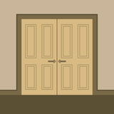 Flat Design Wooden Double Doors Royalty Free Stock Photos