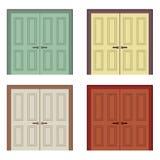 Flat Design Wooden Double Doors Stock Photography