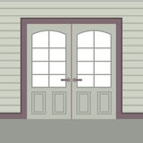 Flat Design Wooden Double Doors Royalty Free Stock Image