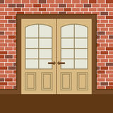 Flat Design Wooden Double Doors Royalty Free Stock Photo