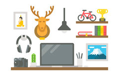 Flat design working desk decor Royalty Free Stock Photo