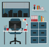 Flat design - workplace Royalty Free Stock Photos