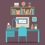Flat Design Workplace Royalty Free Stock Photos