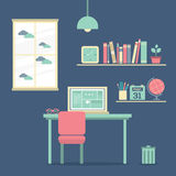 Flat Design Workplace Royalty Free Stock Photography