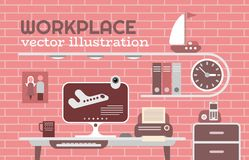 Workplace vector illustration Royalty Free Stock Images