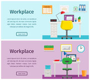 Flat design workspace or home workplace. Vector background. Horizontal banners of business theme. Colorful design workspace or home workplace. Office interior in Royalty Free Stock Images