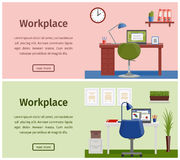 Flat design workspace or home workplace. Vector background. Horizontal banners of business theme. Design workspace or home workplace. Office interior in flat Stock Photo