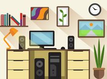 Workspace and Interior Flat Design Concept stock illustration