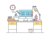 Flat design of workspace Stock Photo