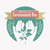 Flat design World environment day or save earth design concept vector,  and illustration stock illustration