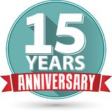 Flat design 15 years anniversary label with red ribbon, vector i. Llustration Stock Images