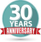 Flat design 30 years anniversary label with red ribbon, vector i. Llustration Royalty Free Stock Photo