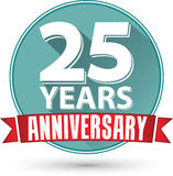 Flat design 25 years anniversary label with red ribbon, vector Royalty Free Stock Photography