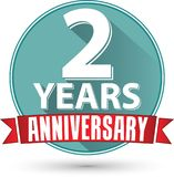 Flat design 2 years anniversary label with red ribbon, vector il. Lustration Royalty Free Stock Photography