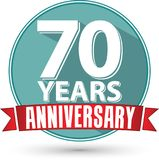 Flat design 70 years anniversary label with red ribbon, vector i. Llustration Stock Photography