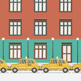 Flat Design Yellow Taxi. Royalty Free Stock Images
