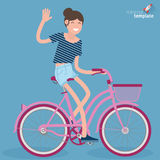 Flat design young women riding bicycle Royalty Free Stock Photography