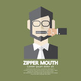 Flat Design Zipper Mouth Man Stock Images