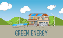 Flat Designed Banner Concept of Eco friendly house. Flat Designed Banners Concept of  Eco energy an Eco friendly house. Creative Work Flow Items and Elements Royalty Free Stock Photos