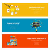 Flat designed banners. For branding for you, online payment and responsive web design. Vector Stock Image