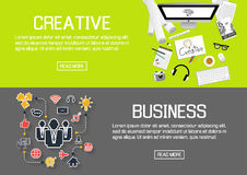 Flat designed banners for creative and business. vector Royalty Free Stock Image