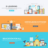 Flat designed banners- E learning, Knowledge is power. Set of flat color design web banners for E-Learning, Knowledge is Power and Education for all. Concepts Stock Image
