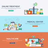 Flat designed banners - Medical and Healthcare Royalty Free Stock Photos
