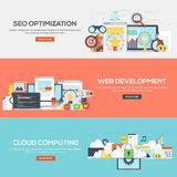 Flat designed banners- Seo, Web development and Cloud computing. Set of flat color design web banners for SEO Optimization, Web Development and Cloud Computing Stock Photos