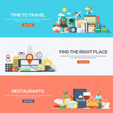 Flat designed banners- Time to travel. Set of flat color design web banners for Time to Travel, Find the Right Place and Restaurants. Concepts web banner and Royalty Free Stock Photo