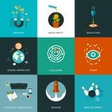 Flat designed business concepts. For strategic management, mission, make an impact, vision, challenge, global marketing, objectives, make profit, revenue Stock Photo
