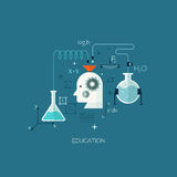 Flat designed concept illustration template for education. Learning and studying. Design elements for web and mobile applications, infographics and workflow Stock Illustration