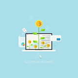 Flat designed concept illustration template for electronic business. Design elements for web and mobile applications, infographics and workflow layout Royalty Free Illustration