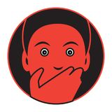 Flat designed icon of a frightened man stock illustration