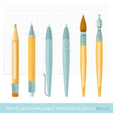 Flat designer set pen, brush, pencil, mechanical pencil, ink pen, paper, sheet in a cage Stock Images