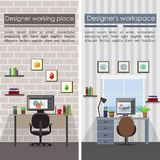 Flat Designer Workplaces Vertical Banners. With table chair computer stationery lamp pictures documents plants shelves vector illustration Stock Image