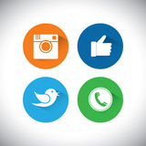 Flat designs of camera, like, bird and telephone receiver -  soc Royalty Free Stock Images
