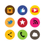 Flat designs of camera, like, messenger bird, phone receiver, we Royalty Free Stock Image