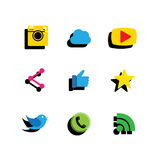 Flat designs of digital camera, like hand symbol, thumbs up, mes Stock Photography