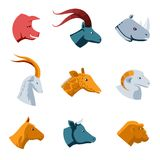 Flat Designs of Various Animal Head Icons Stock Photo