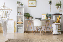 Flat with desk and chair Royalty Free Stock Photography