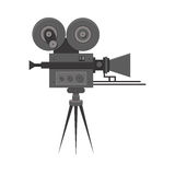 Flat detailed professional retro movie film camera. Vintage cinema. Poster, card, leaflet or banner template with place for text.  on white. Video recorder Stock Photography