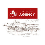 Flat detective agency logo design. Royalty Free Stock Images