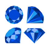 Flat diamond icon. Diamond icons set, flat style design Stock Photos